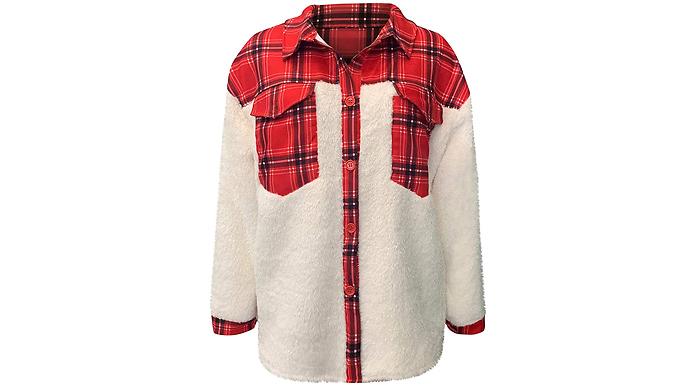 Women's Fuzzy Patchwork Jacket - 4 Colours & 4 Sizes