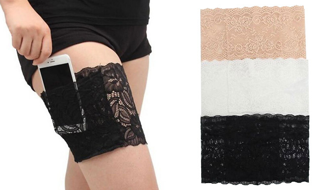 Get Anti-Friction Lace Garter with Pocket - 3 Colours, 3 Sizes from