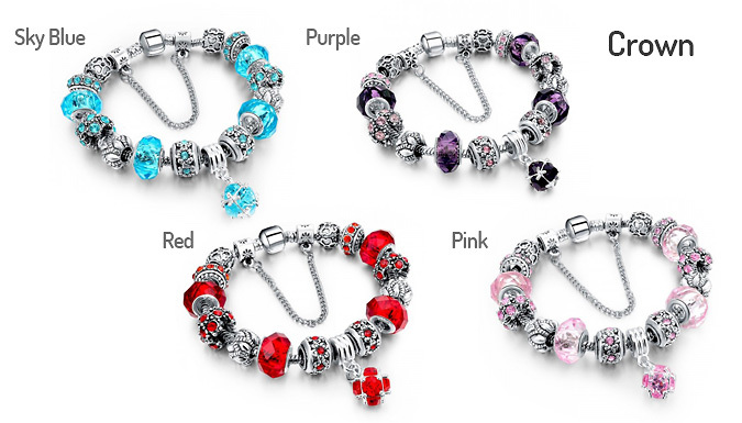 Simulated Crystal Charm Bracelets - 5 Designs, 7 Colours