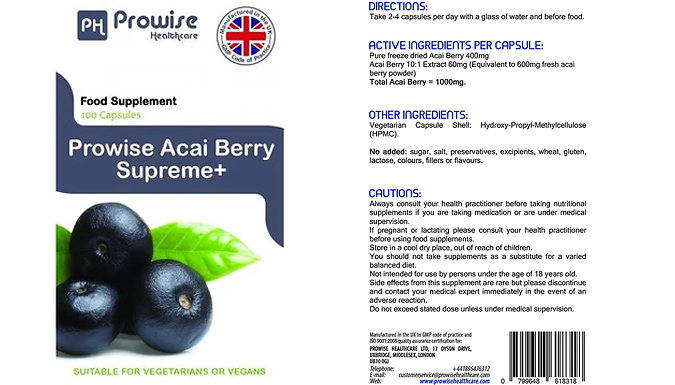 2-Month Supply of Acai Berry Supreme+ Capsules - 120 Capsules