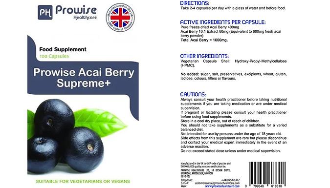 2-Month Supply of Acai Berry Supreme+ Capsules - 120 Capsules