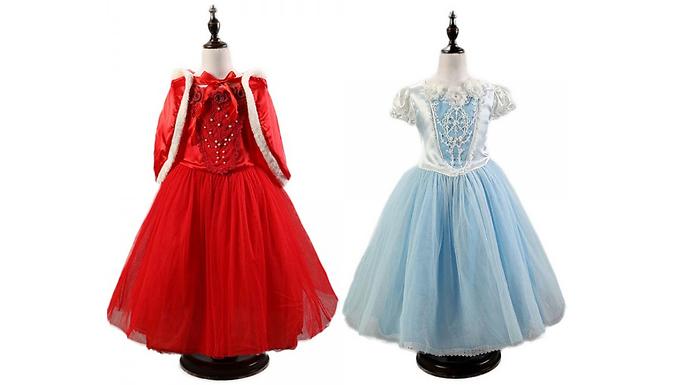 Kids' Princess Dress and Cape - 2 Colours & 5 Sizes