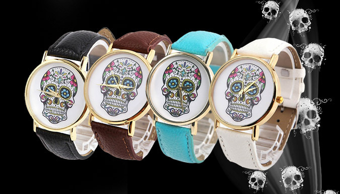 'Day of the Dead' Inspired Skull Watch - 4 Colours