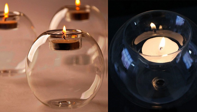 3 Sphere Glass Candle Holders