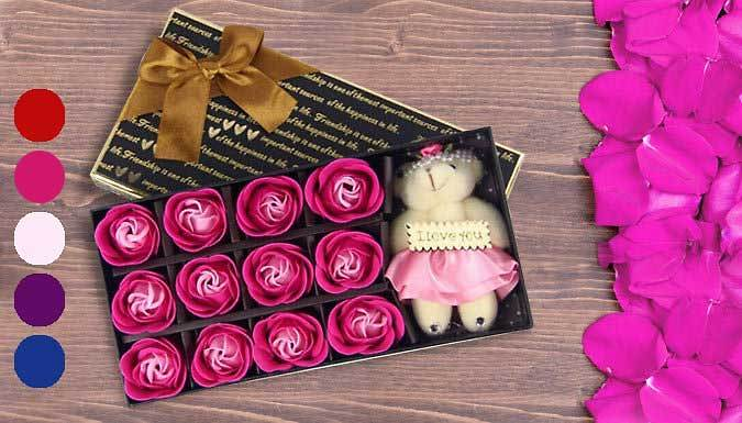 Scented Soap Rose Petals and Cute Teddy Set