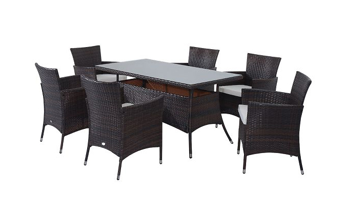 7-Piece Rattan Outdoor Dining Set – 2 Colours (£299)