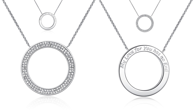 Compare retail prices of 'My Love For You...' Engraved Swarovski Elements Crystal Pendant to get the best deal online