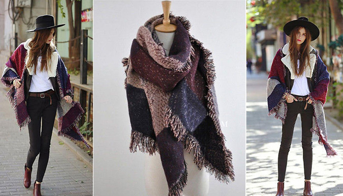 Oversized Chequered Pashmina Scarf - 3 Colours