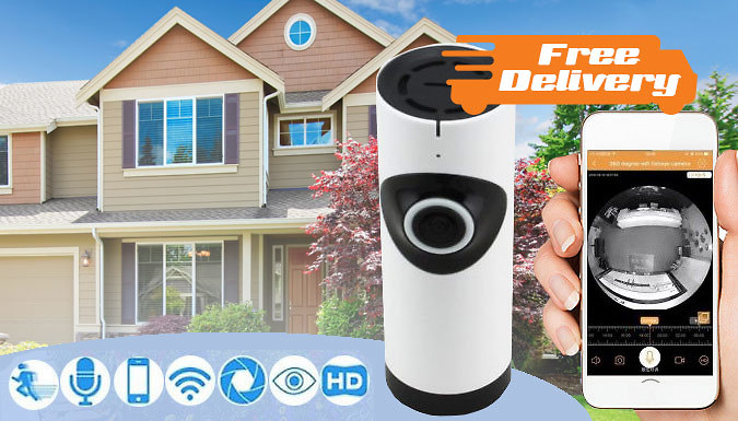 FishEye Home Security Camera with WiFi  Free Delivery!