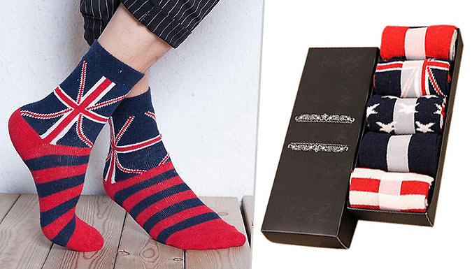 Get Pack of 5 Flag-Design Men's Socks from
