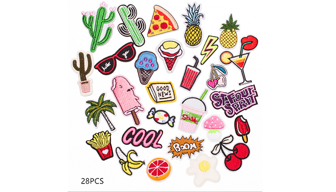 Cool Iron-On Clothing Badges Set - 28, 32, 40 or 42-Pack