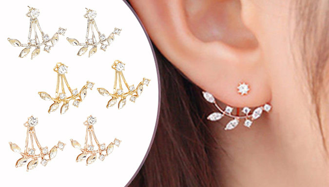 Double Simulated Crystal Leaf Earrings - 3 Colours