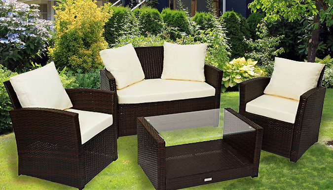 4-Piece 'Roma' Rattan Furniture Set – 2 Colours (£249)