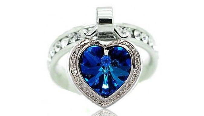 18K White Gold Ocean Heart Ring