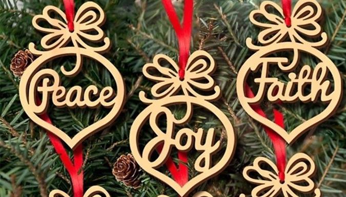 6, 12 or 24 Wooden Hanging Christmas Pendants