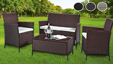 4 Piece Rattan Garden Furniture Set With Xl Table 3 Colours