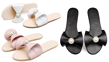53f7976a73a4 Save 65% and slide into a pair of effortlessly stylish Bow and Pearl  Slippers for €17.99 instead of €52.10