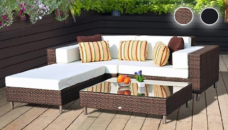 2 x adjoining sofa chairs and 2 x foot stools mean you can mix and match your garden layout with the 4 piece rattan set for 47999