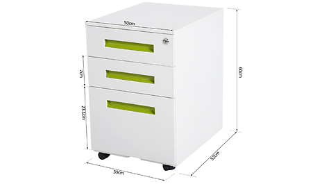 Vinsetto Lockable File Cabinet Pedestal Mobile 3 Drawers Metal White Home